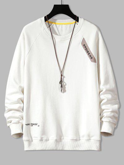 Raglan Sleeve Letter Print Crew Neck Sweatshirt - White S