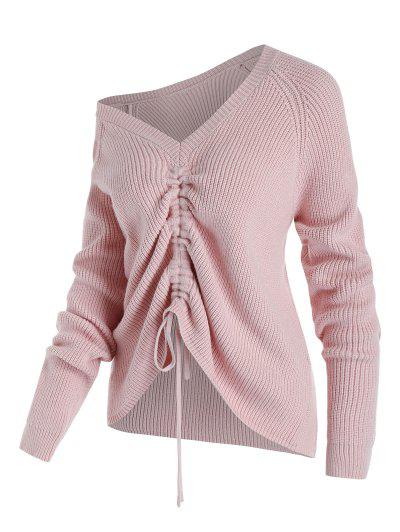Plus Size Skew Collar Cinched Front Sweater - Light Pink 2x