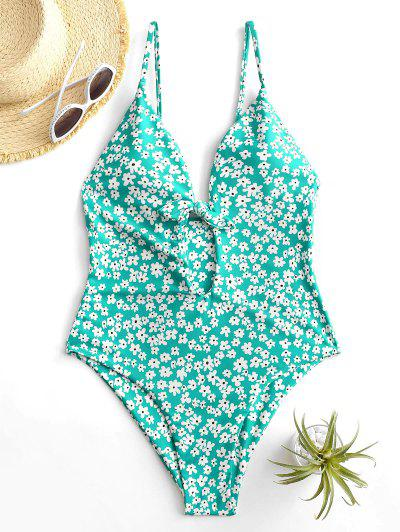 ZAFUL Floral Tied Backless Keyhole One-piece Swimsuit - Light Green S