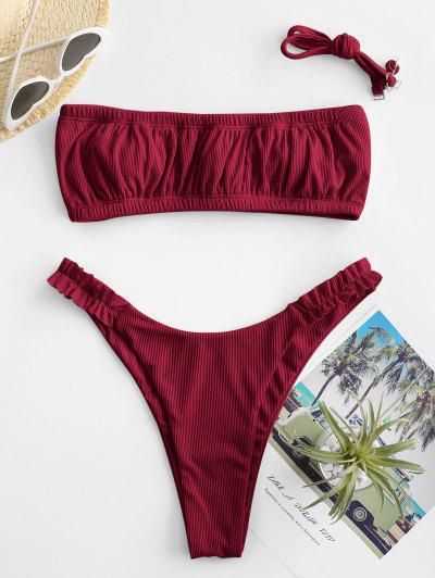 Bikini Bandeau De Corte Alto Con Volantes ZAFUL - Color Rojo Oscuro L