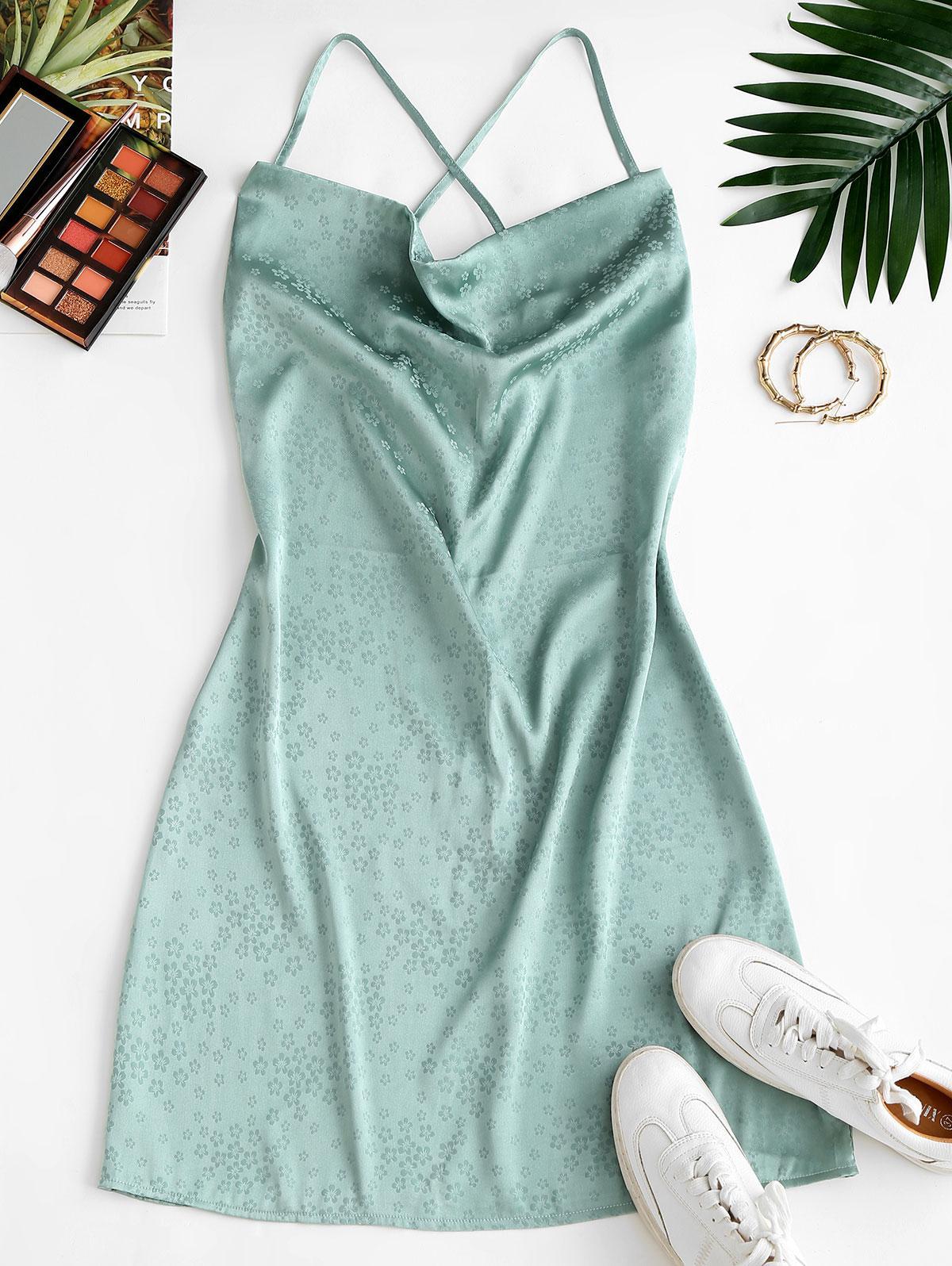 ZAFUL Flower Jacquard Cowl Front Mini Dress