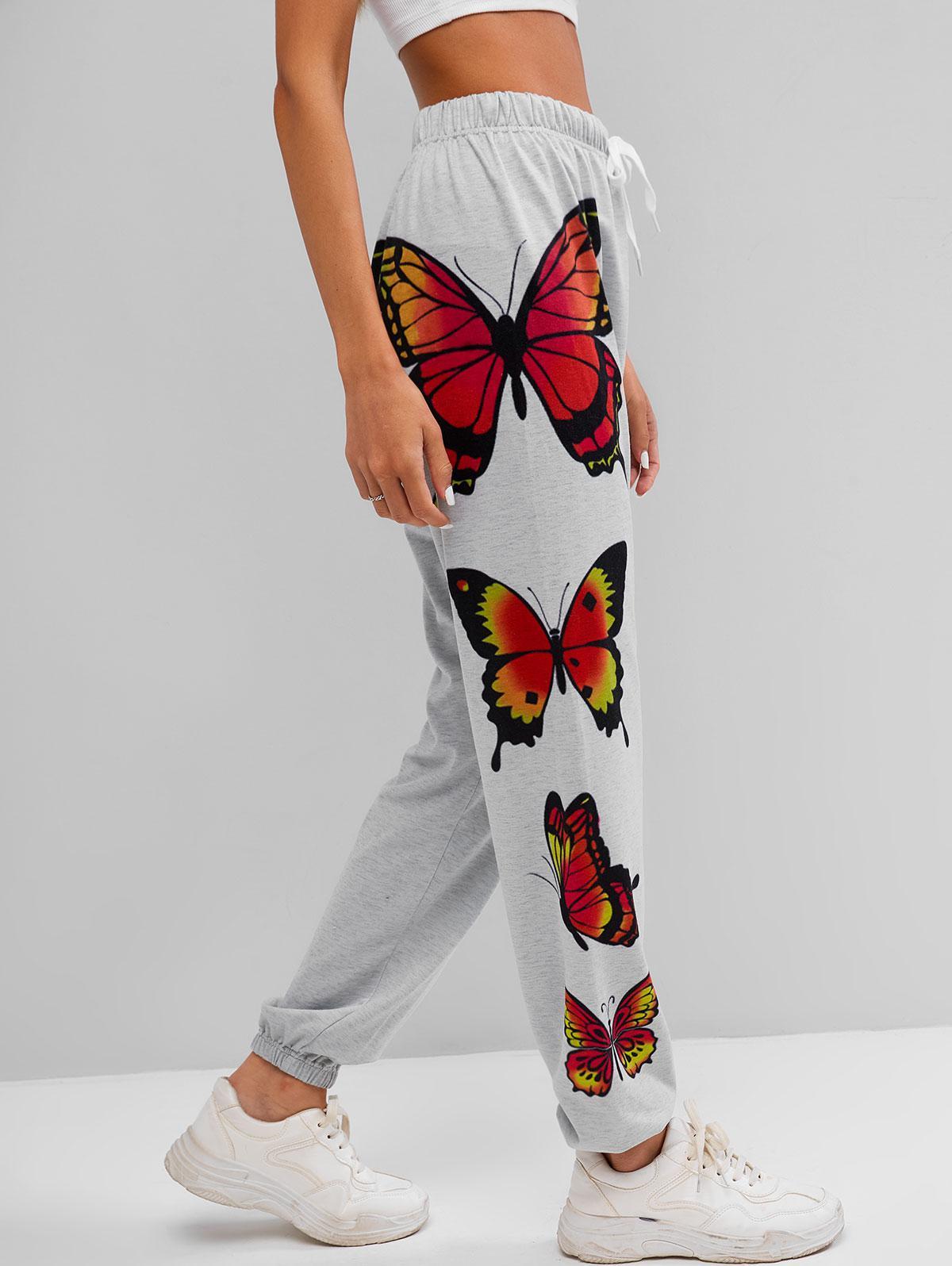 ZAFUL Drawstring Butterfly Print  Jogger Pants