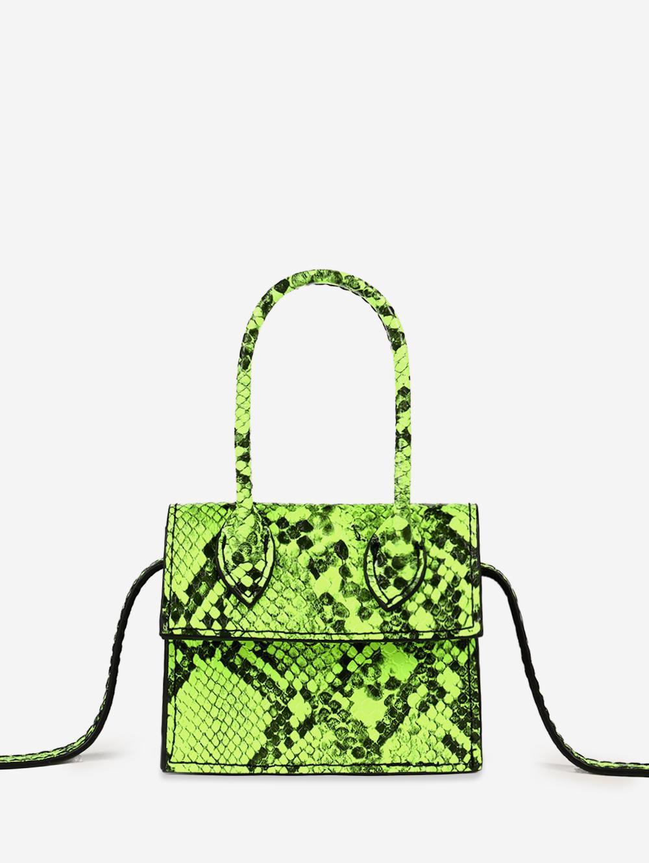 Snakeskin Pattern Square Crossbody Bag