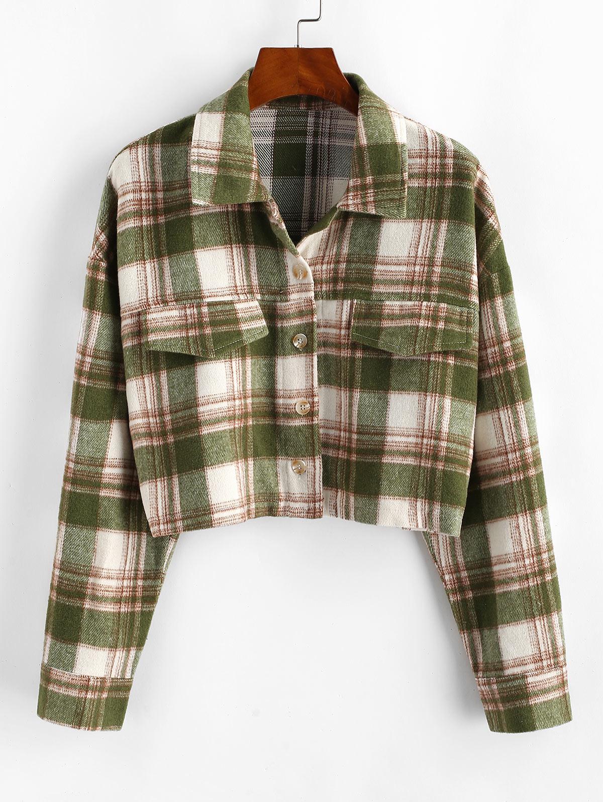 Button Up Plaid Wool Blend Shirt Coat