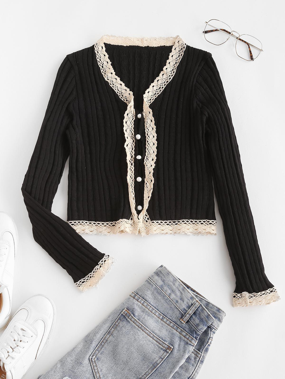 Lace Trim Button Up Cardigan