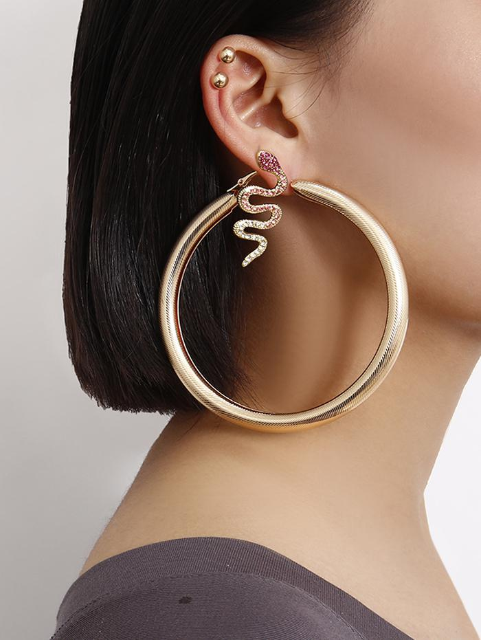 Rhinestone Snake Hoop Earrings Set