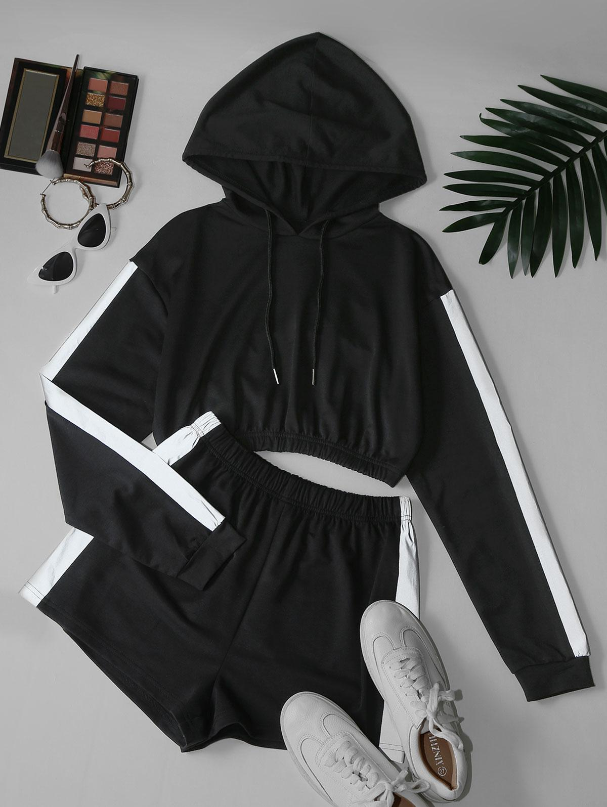 Reflective Trim Crop Hoodie and Shorts Two Piece Set