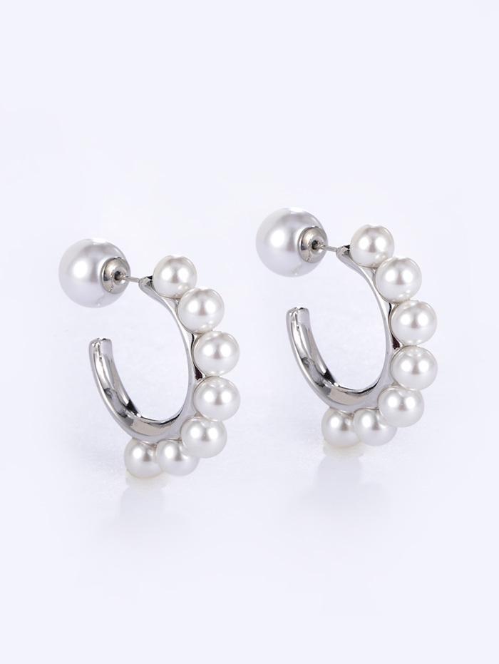 Faux Pearl C-shape Copper Earrings