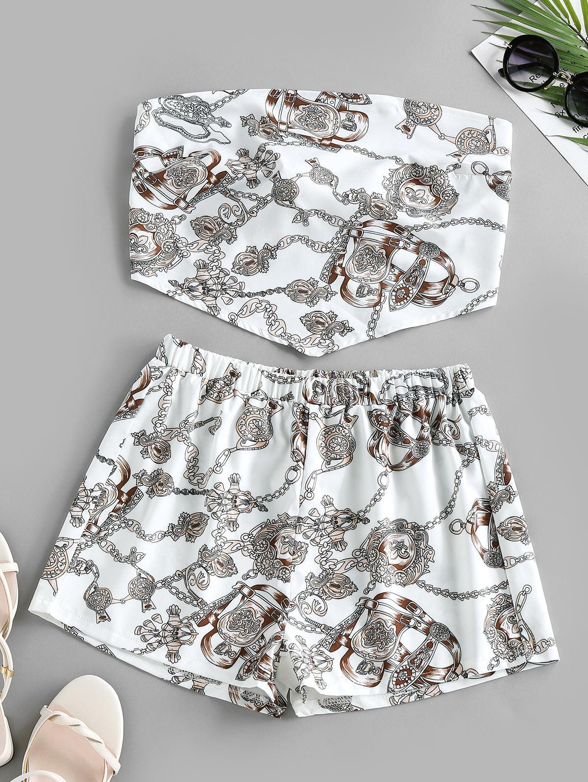 ZAFUL Chain Print Strapless Bandana Top with Shorts