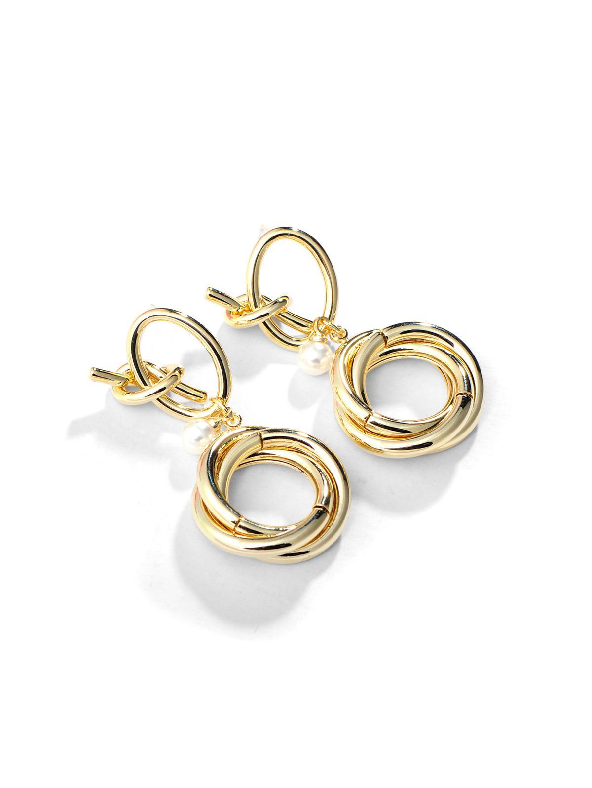 Circles Faux Pearl Copper Earrings