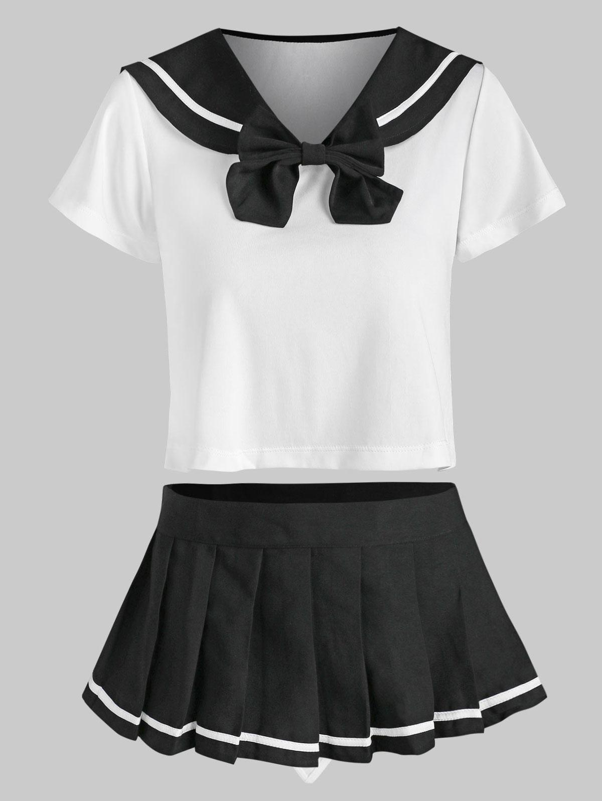 Bowknot Lingerie Cosplay Students Costume Set
