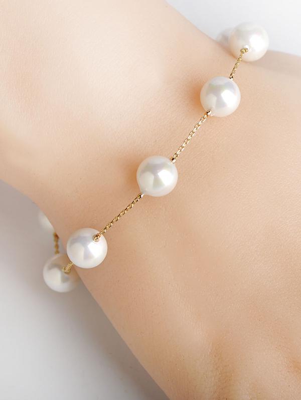 Faux Pearl Beaded Chain Bracelets