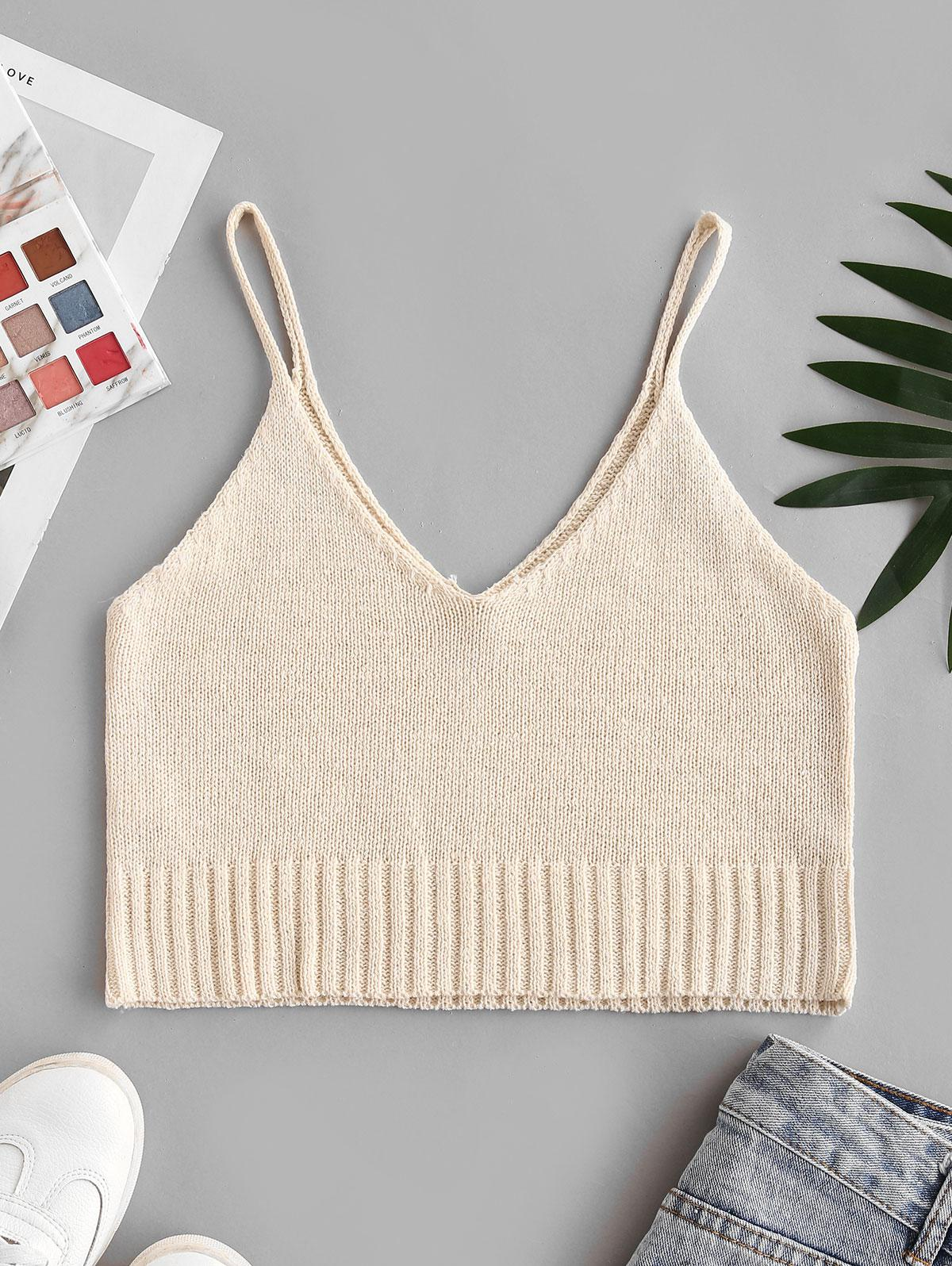 Knit Cropped Cami Top