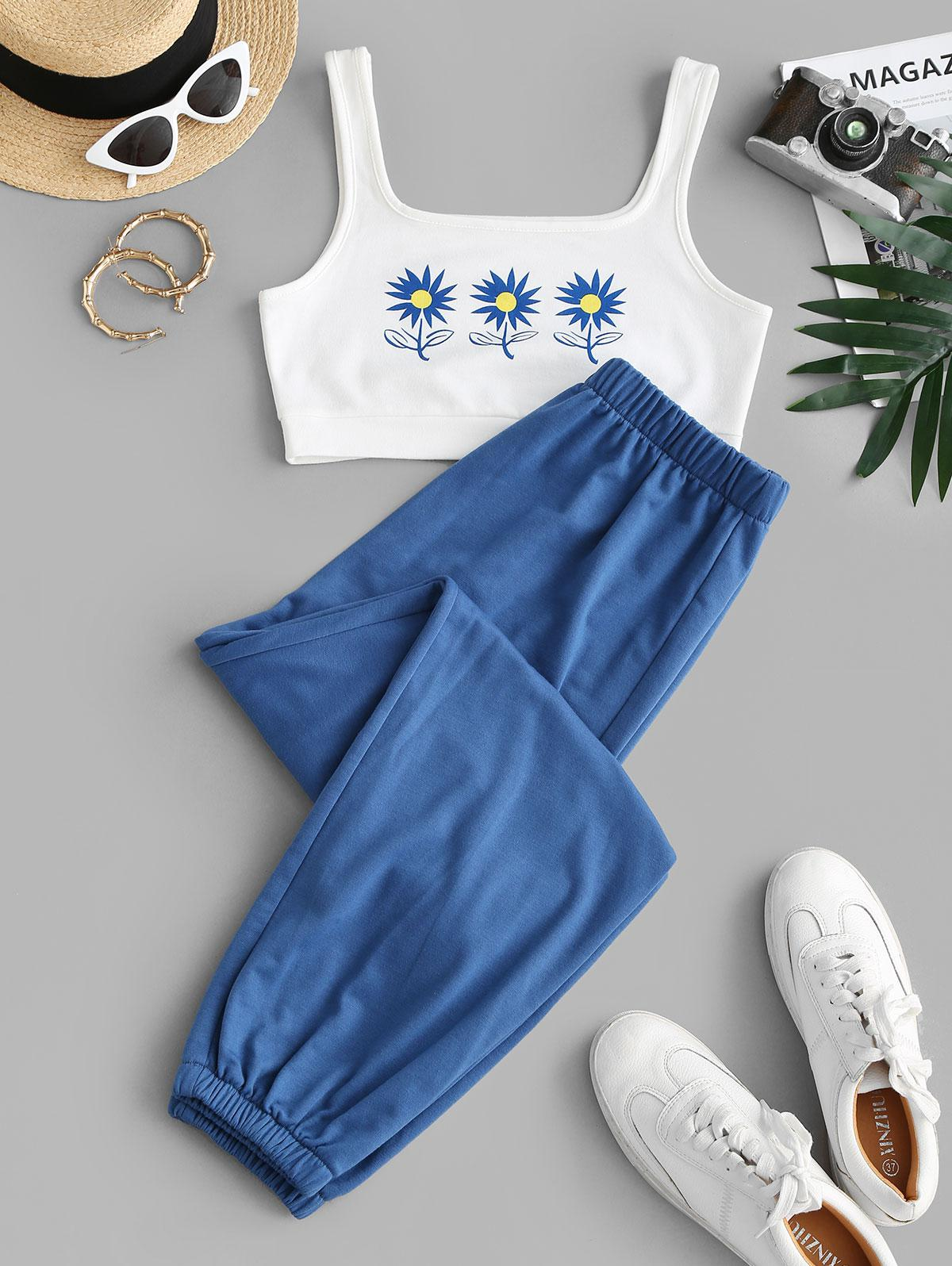 Floral Print Crop Top and Sweatpants Set