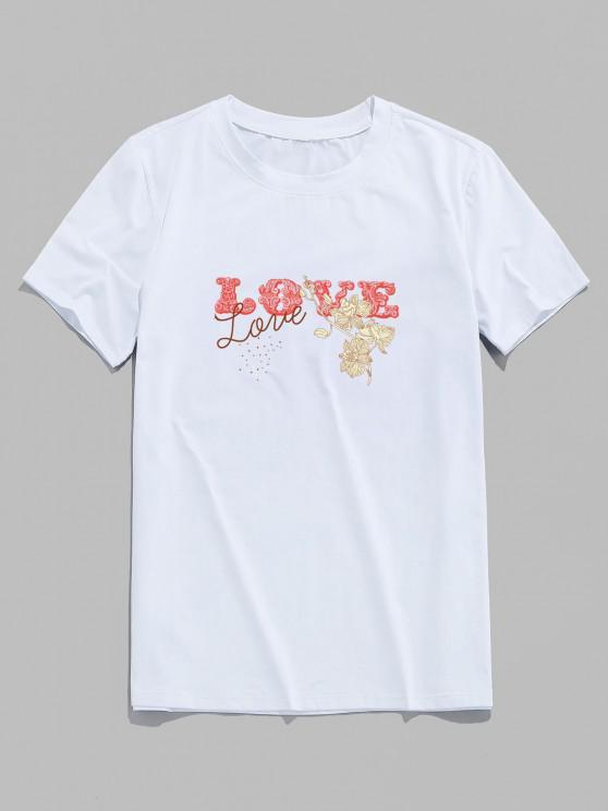 Basic Love Flower Print Short Sleeve T-shirt - أبيض S