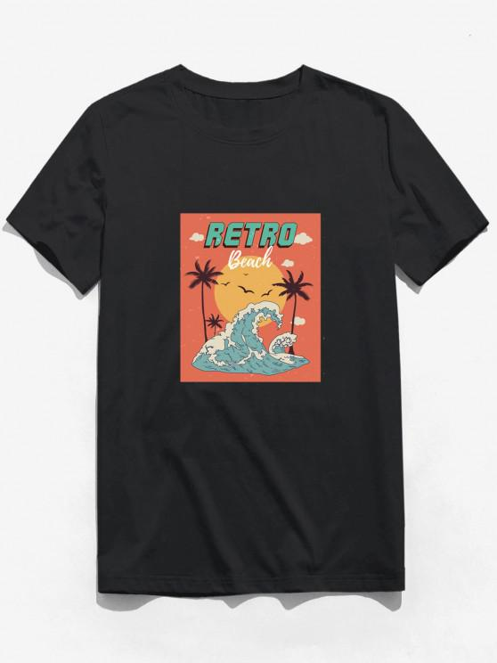 Retro Beach Waves Sun Palm Tree Print Basic T-shirt - أسود 2XL