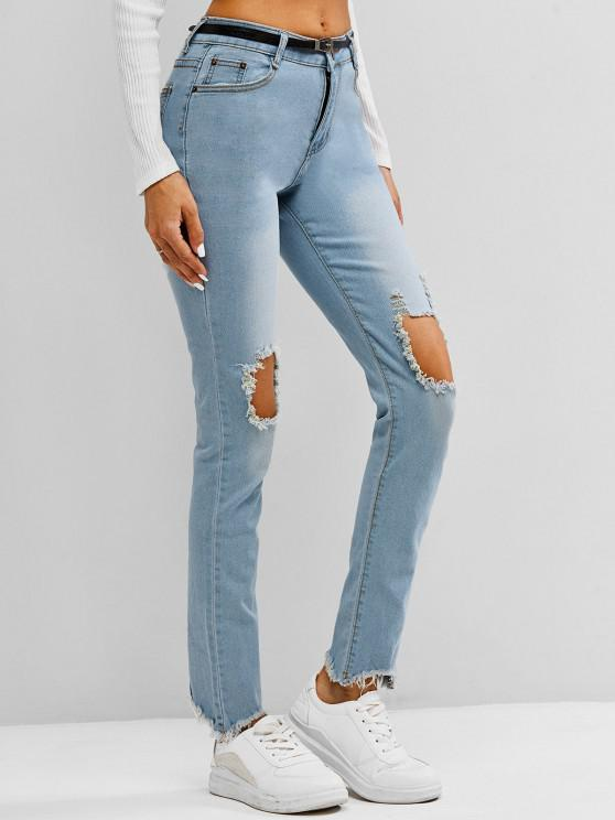womens Faded Frayed Destroyed Skinny Jeans - LIGHT BLUE L