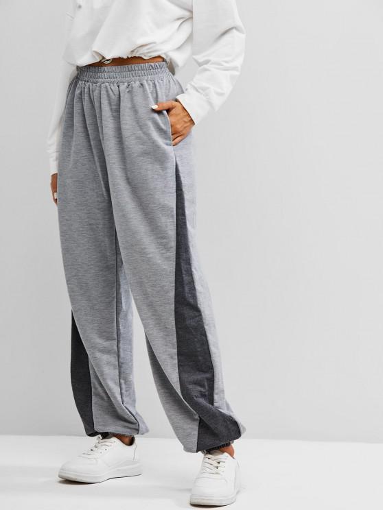 Pantalon de Jogging Bicolore avec Poche - Gris XL