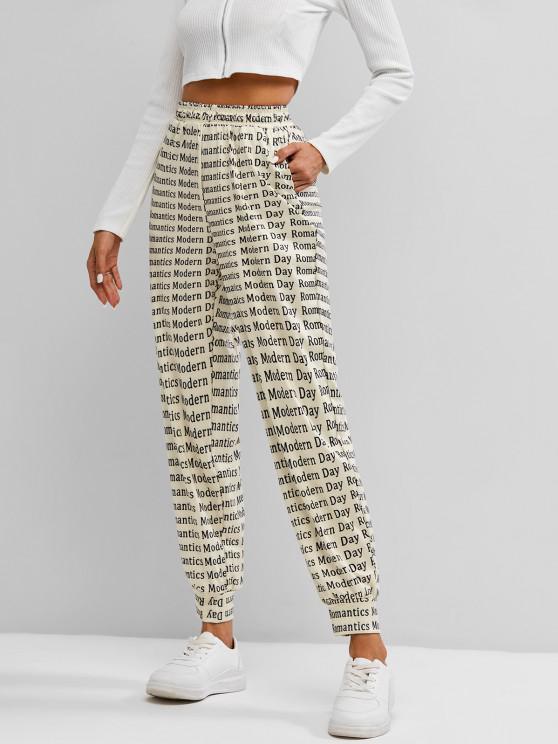 fashion Letters Print Jogger Pants - LIGHT COFFEE M