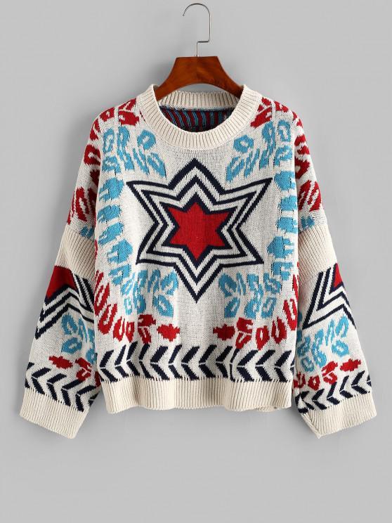 Loose Star Graphic Crew Neck Sweater - أبيض حجم واحد