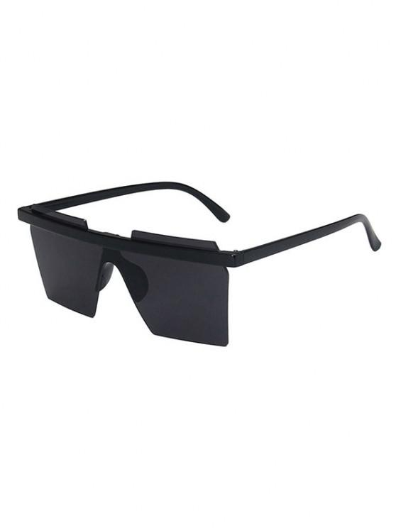 ladies Geometric Rimless Shield Sunglasses - BLACK