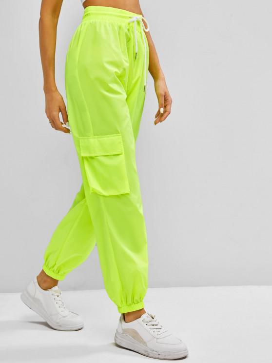 outfits Egirl Neon Drawstring Pocket Windbreaker Cargo Pants - GREEN M