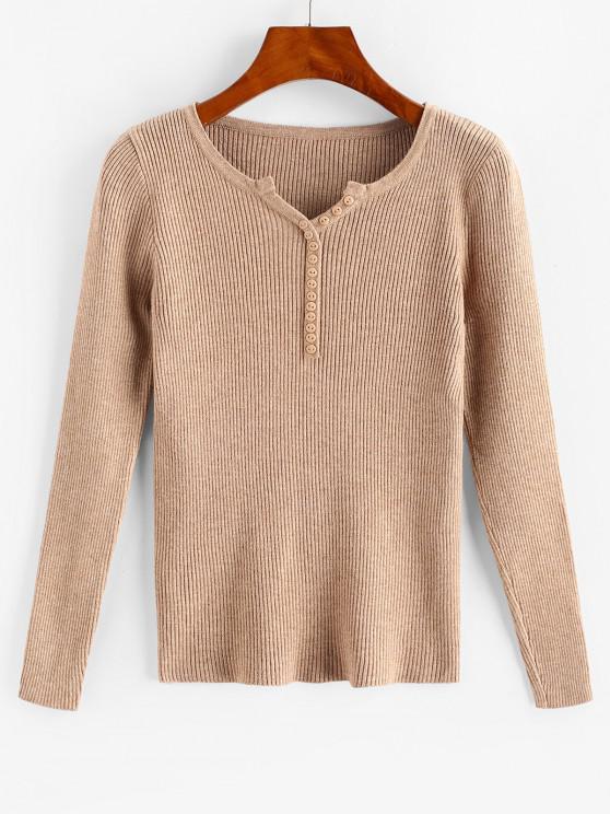 Button Front V-notched Ribbed Knitwear - القهوة الخفيفة حجم واحد