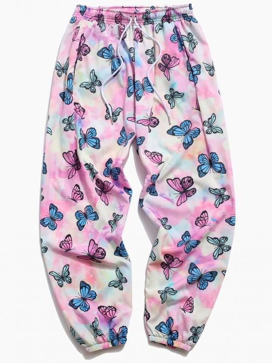 Pantalones Jogger de Tie Dye con Estampado de Mariposa - Rosa claro 3XL