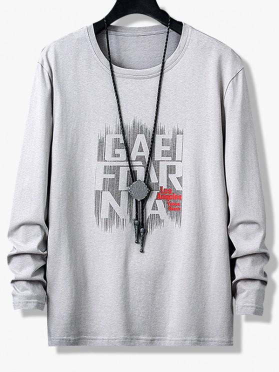 Buchstabe Grafikdruck Lange Ärmel T-Shirt - Grau XS