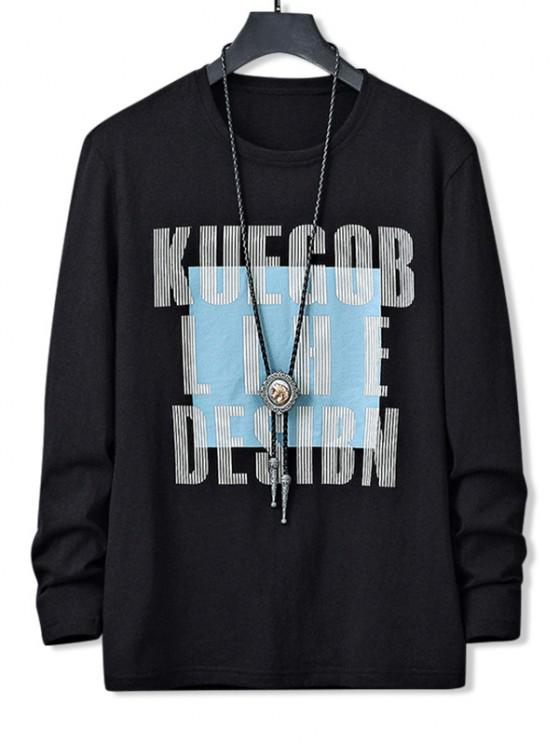 fashion Letters Graphic Print Long Sleeve Casual T-shirt - BLACK S