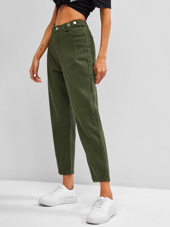 Jeans Desbotado de Cintura Alta - Verde de Algas Marinhas S