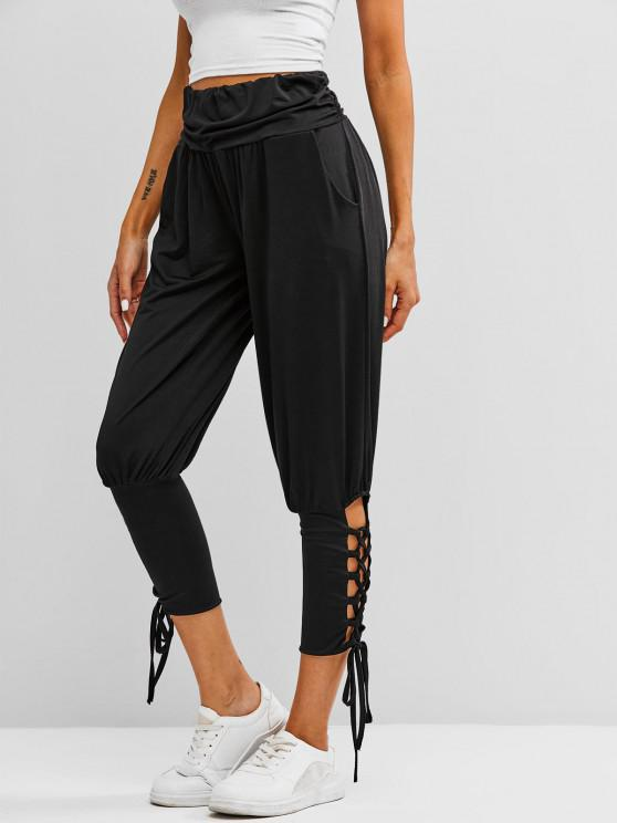 Ruched Waist Lace Up Yoga Sports Pants - أسود XL