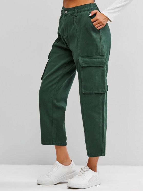 Jeans de Alta Bolsos com Cintura - Verde profundo S