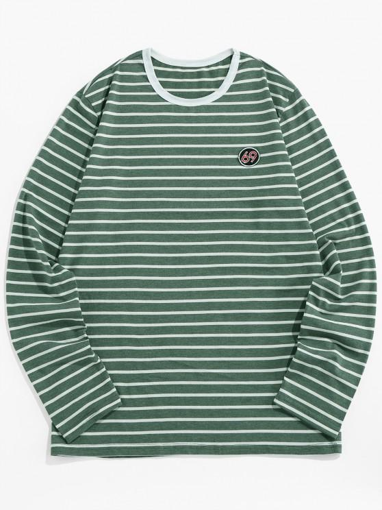 fashion ZAFUL Number Embroidery Striped Long Sleeve T-shirt - GREEN 2XL