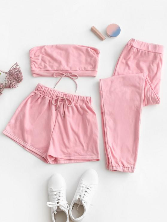 Strapless Drawstring Active Three Piece Set - وردي فاتح M