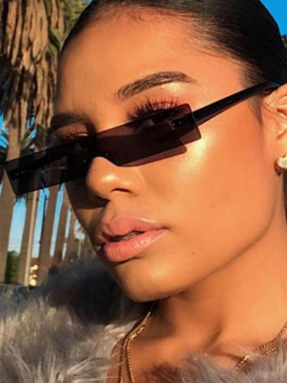 trendy Narrow Rectangle Rimless Sunglasses - BLACK