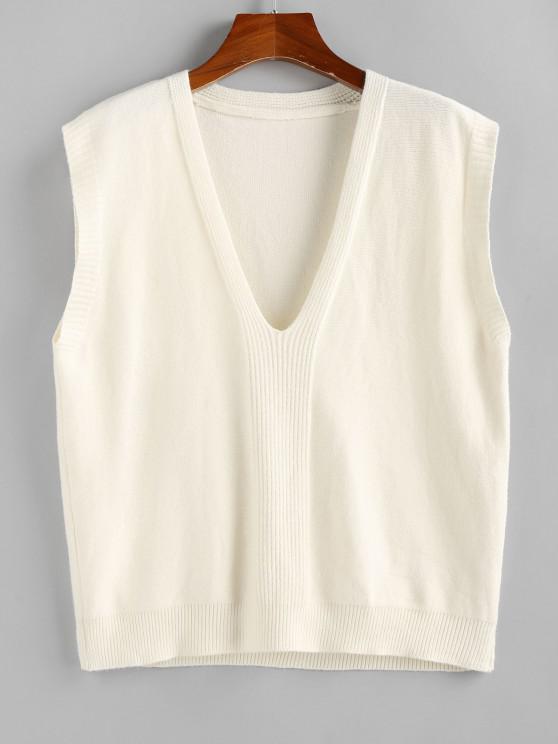 Plunging Plain Loose Vest Sweater - أبيض M