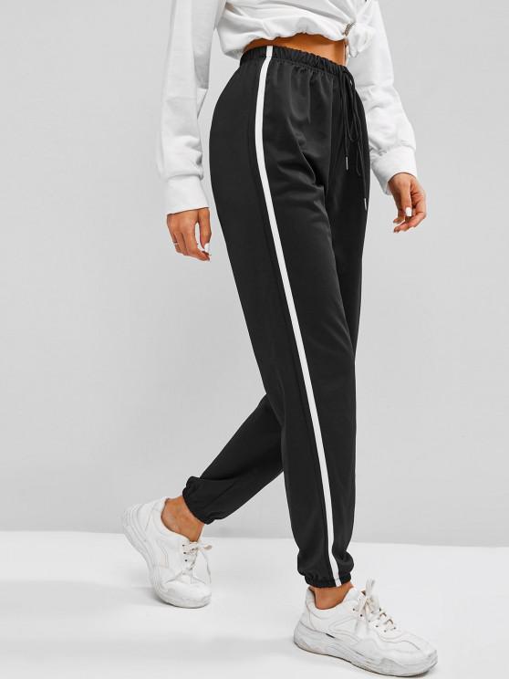 women Contrast Side Tie Detail Jogger Pants - BLACK L