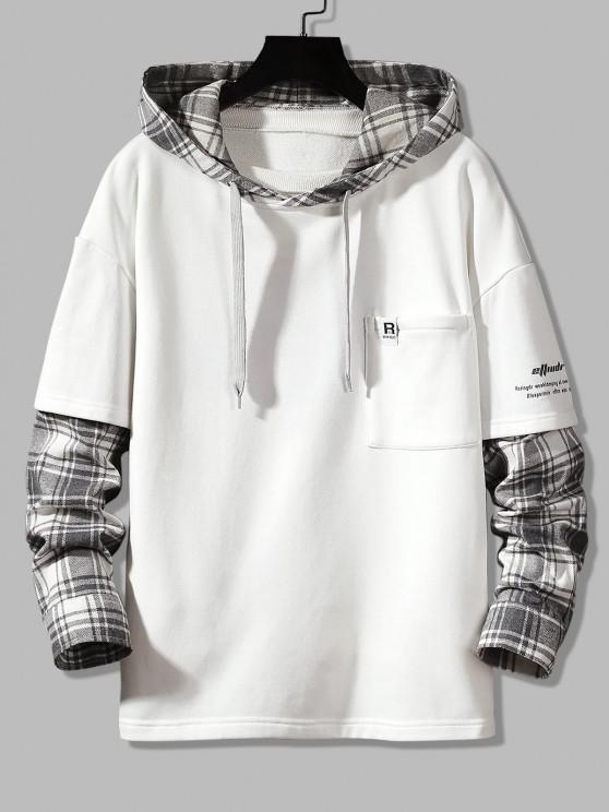 trendy Letter Print Plaid Faux Twinset Hoodie - WHITE S
