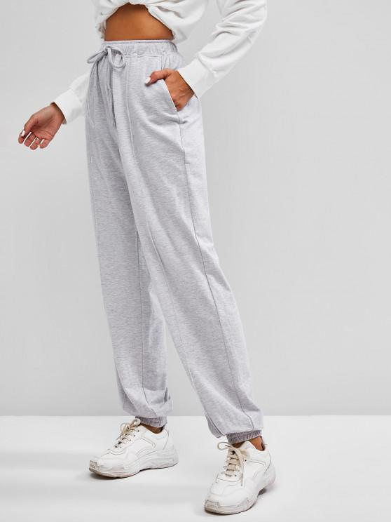 ladies ZAFUL Drawstring Pintuck Sweatpants - PLATINUM L