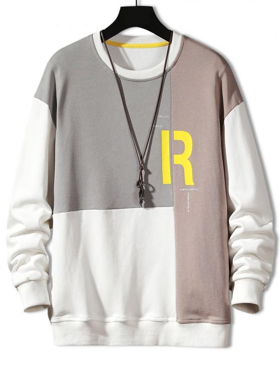 Color Blocking Panel Letter Sweatshirt - بلانشيد اللوز XL