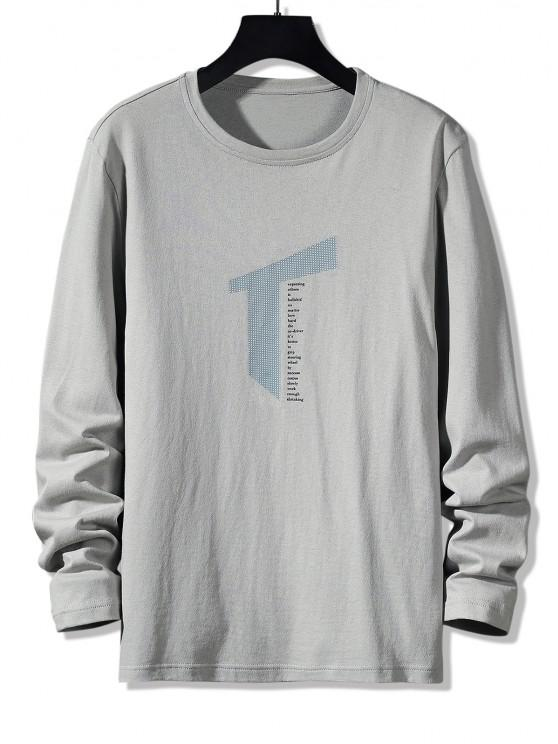 outfit Letter Geometric Print Long Sleeve Casual T-shirt - GRAY S