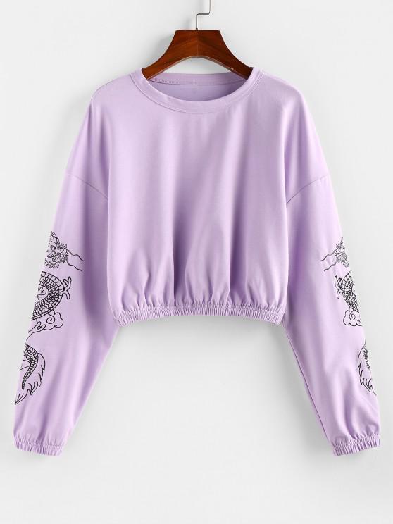 shops ZAFUL Dragon Print Oriental Drop Shoulder Crop Sweatshirt - MAUVE S