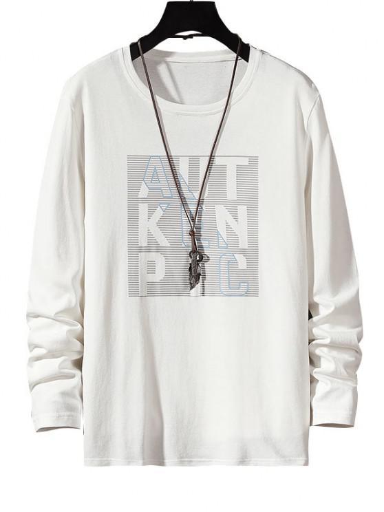 womens Letter Stripes Print Long Sleeve Basic T-shirt - WHITE XS