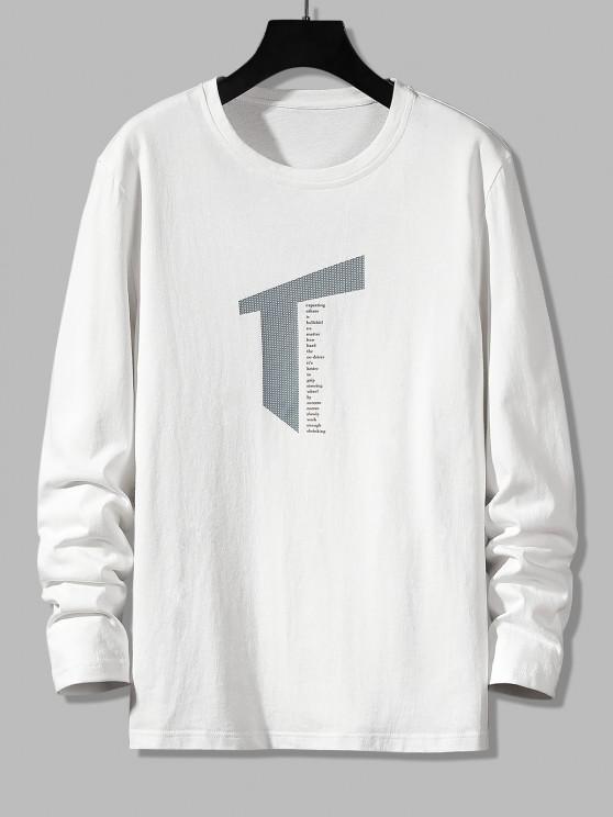 T-shirt Décontracté Lettre Géométrique Imprimée à Manches Longues - Blanc S