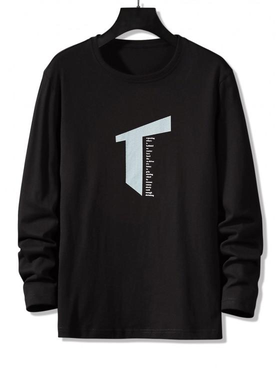 Letter Geometric Print Long Sleeve Casual T-shirt - أسود XS