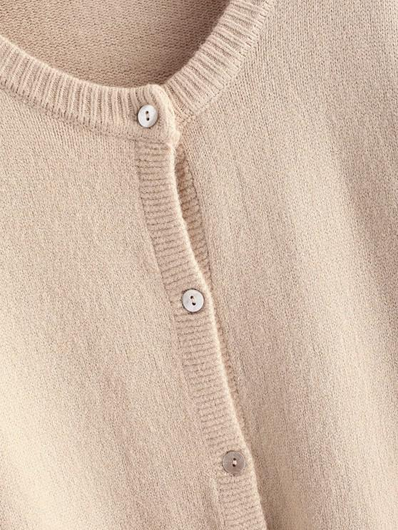 Crew Neck Button Up Solid Cardigan - Light Coffee   ZAFUL