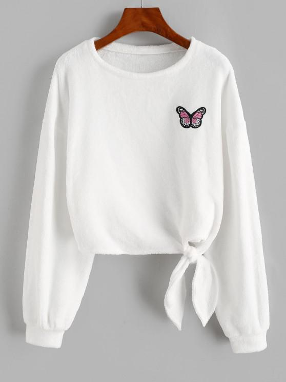 women's ZAFUL Butterfly Patched Fluffy Tie Hem Sweatshirt - WHITE XL