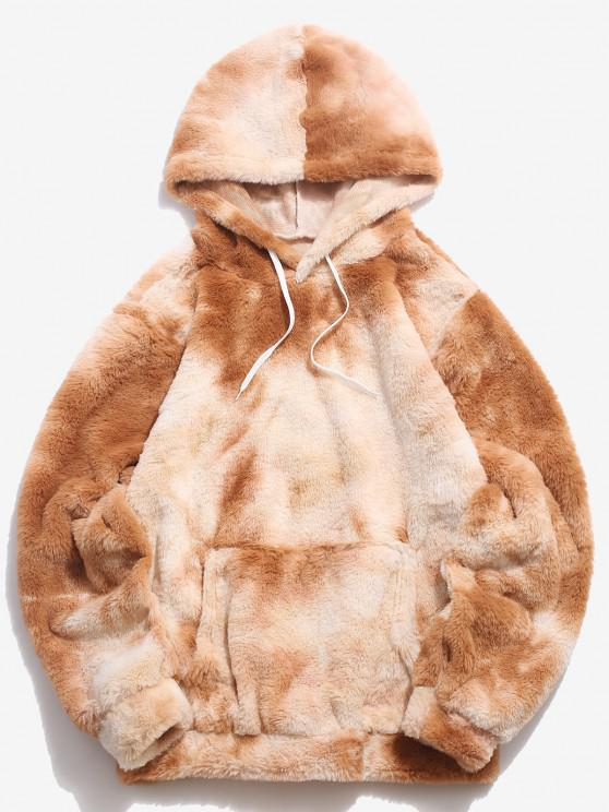 womens Kangaroo Pocket Tie Dye Pattern Faux Fur Hoodie - LIGHT COFFEE XL