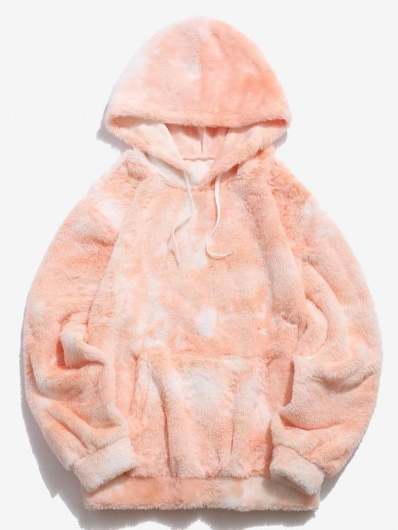 new Kangaroo Pocket Tie Dye Pattern Faux Fur Hoodie - LIGHT ORANGE S